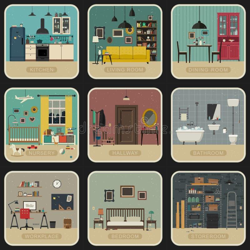 Sistema de cuartos interiores stock de ilustración