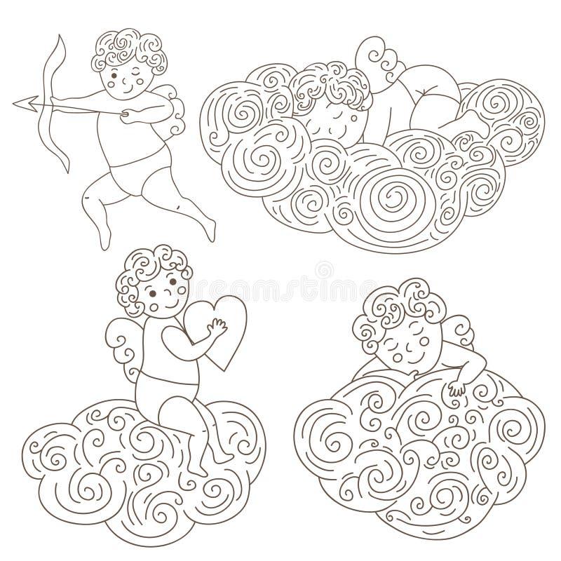 Sistema de cuatro ángeles dibujados mano el dormir en las nubes Objeto aislado ángeles del esquema Ilustración del vector libre illustration