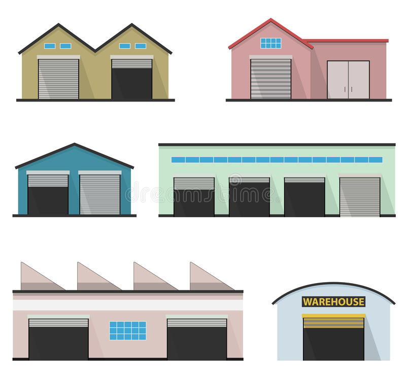 Sistema de cuatro almacenes Edificio del almacén stock de ilustración