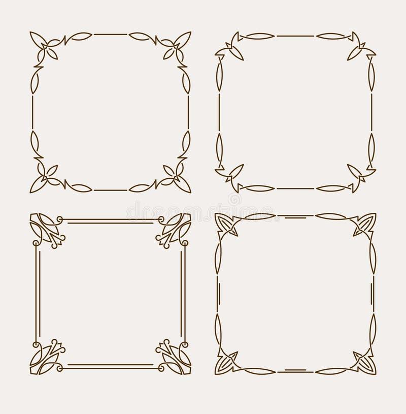 Sistema de cuatro bastidores caligráficos elegantes del vector libre illustration