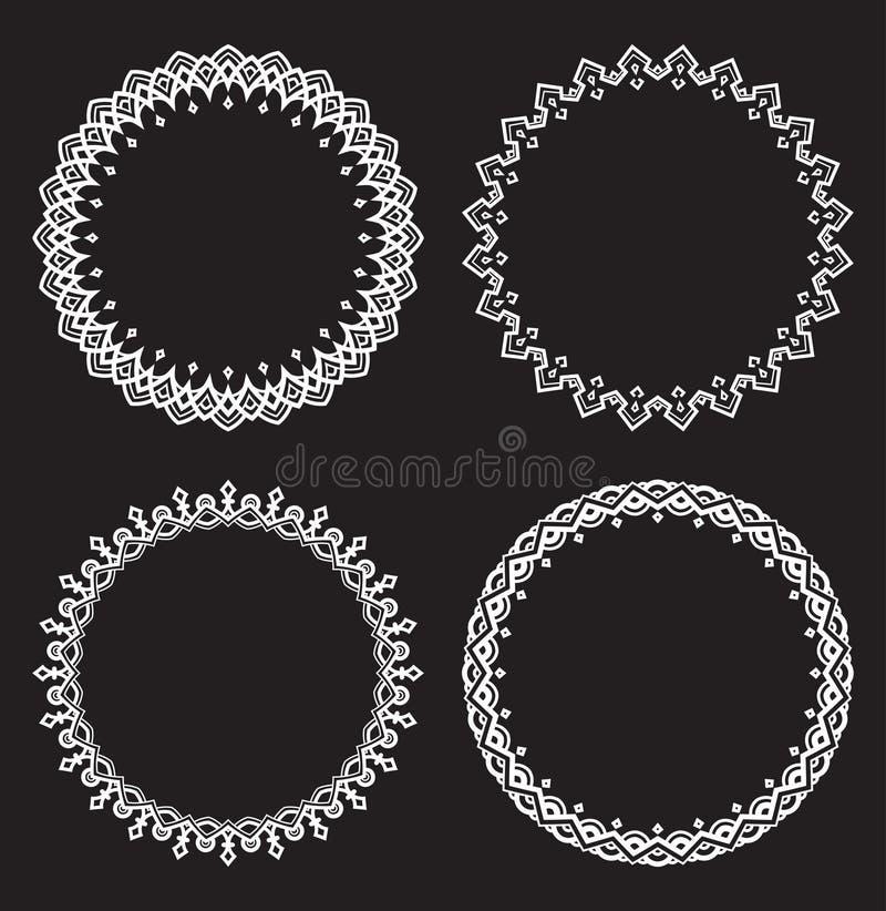 Sistema de cuatro bastidores redondos blancos en un fondo negro libre illustration
