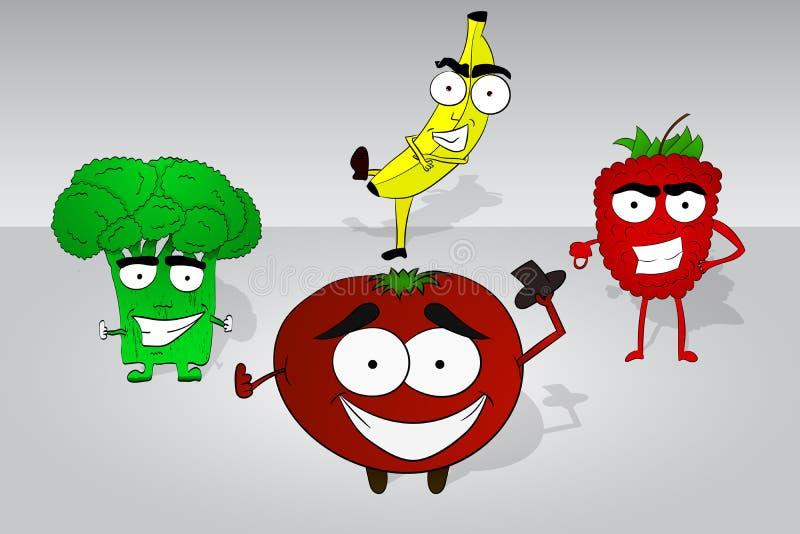 Sistema de cuatro caracteres dibujados mano cómica de la comida Bróculi, plátano stock de ilustración