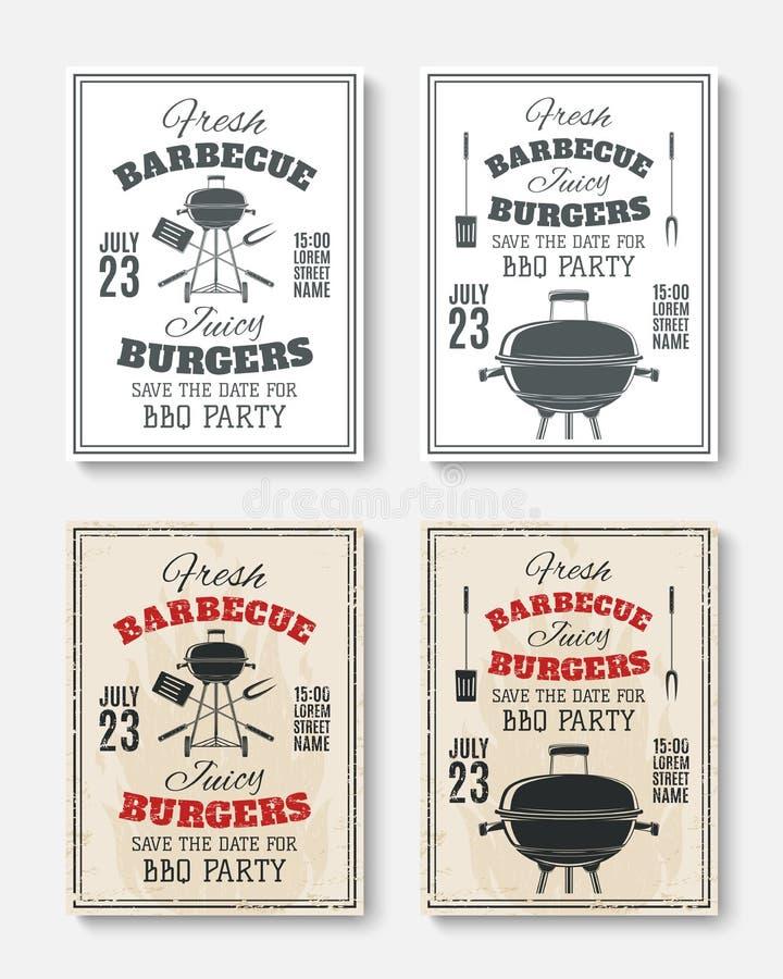Sistema de cuatro carteles del partido de la barbacoa del vintage stock de ilustración