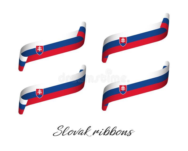Sistema de cuatro cintas coloreadas modernas del vector con tricolor eslovaco stock de ilustración