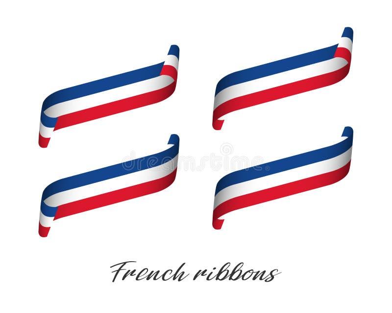 Sistema de cuatro cintas coloreadas modernas del vector con tricolor francés libre illustration