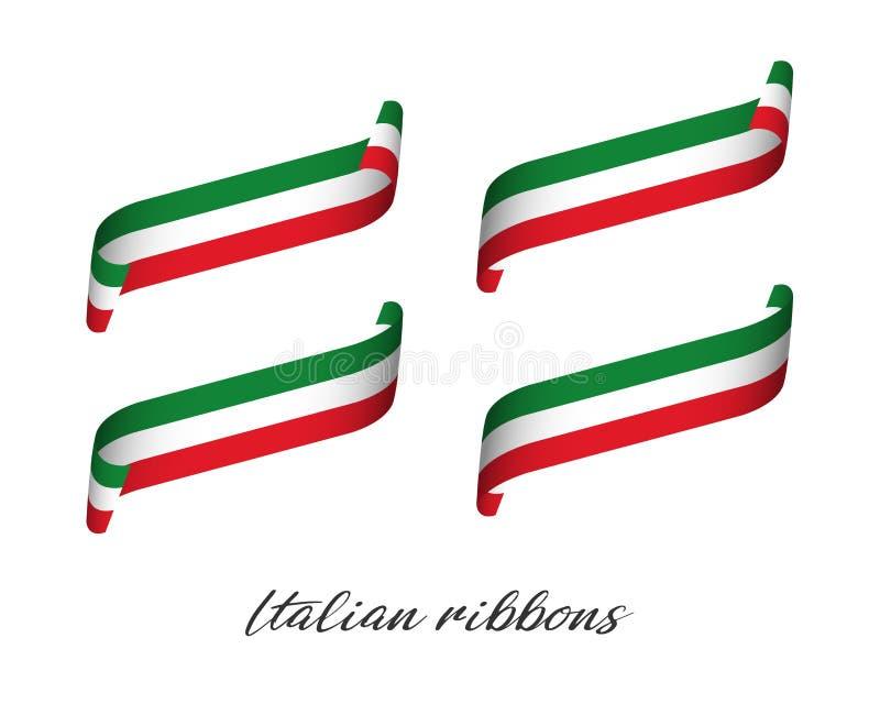 Sistema de cuatro cintas coloreadas modernas del vector con tricolor italiano stock de ilustración
