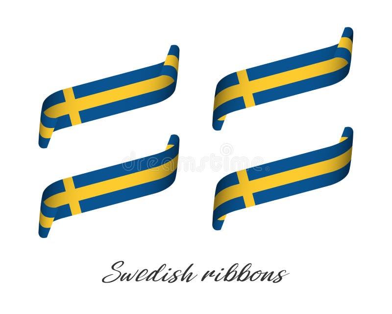Sistema de cuatro cintas coloreadas modernas del vector en colores suecos ilustración del vector