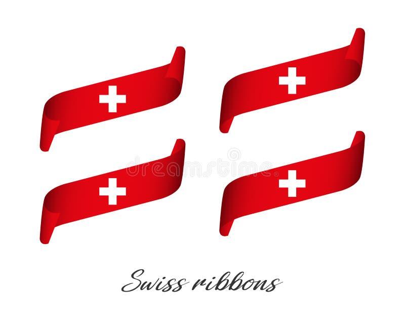 Sistema de cuatro cintas coloreadas modernas del vector en colores suizos ilustración del vector
