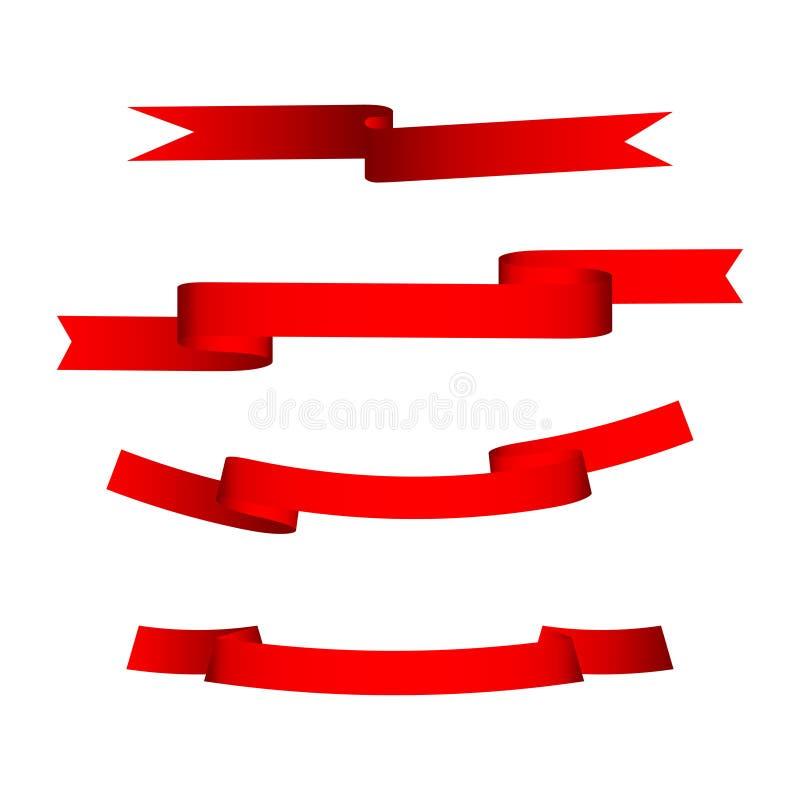 Sistema de cuatro cintas rojas ilustración del vector