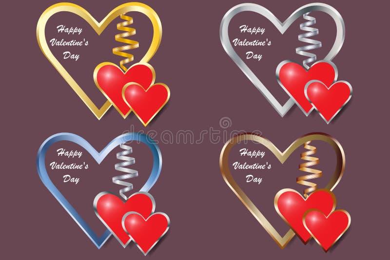 Sistema de cuatro corazones del marco metálico para el día del ` s de la tarjeta del día de San Valentín stock de ilustración