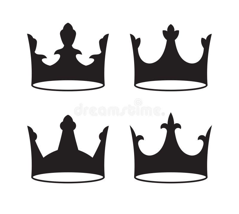 Sistema de cuatro coronas negras para el diseño de la heráldica en el fondo blanco libre illustration
