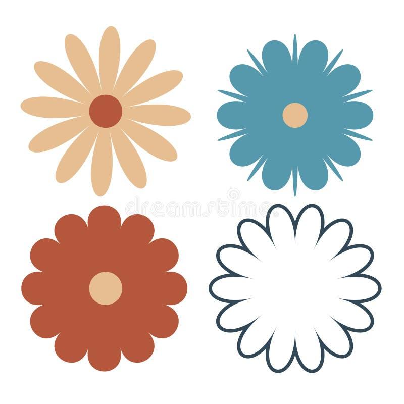 Sistema de cuatro diversas flores aisladas en blanco libre illustration