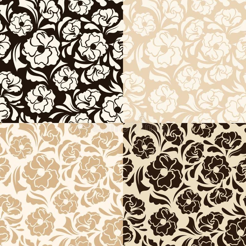 Sistema de cuatro estampados de flores beige y marrones inconsútiles Ilustración del vector stock de ilustración