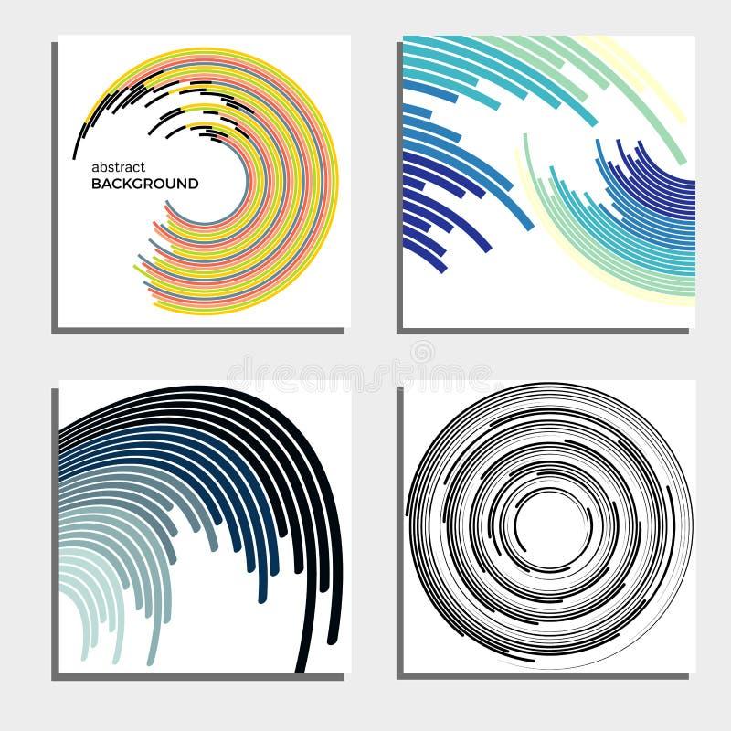 Sistema de cuatro fondos abstractos hermosos Círculos ligeros de destello abstractos libre illustration