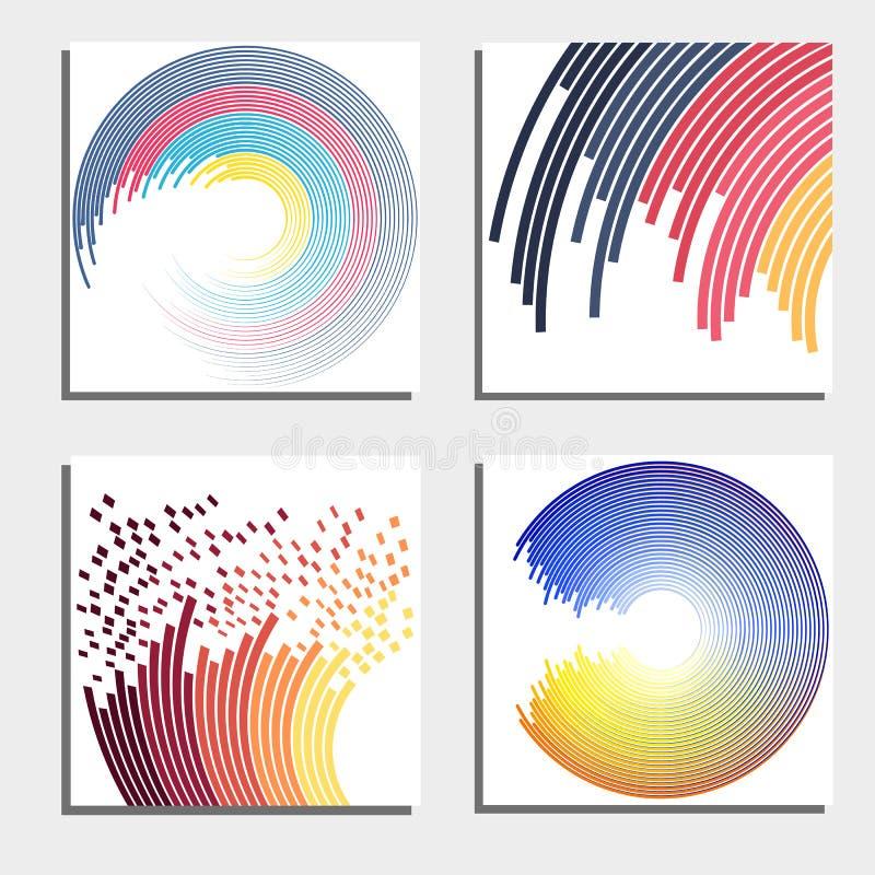 Sistema de cuatro fondos abstractos hermosos Círculos ligeros de destello abstractos ilustración del vector