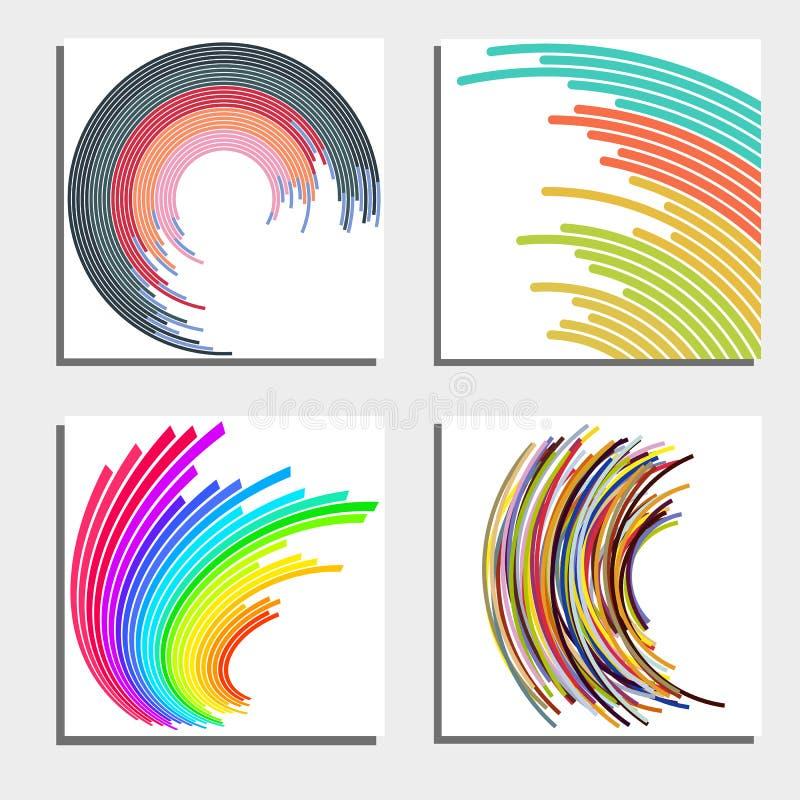 Sistema de cuatro fondos abstractos hermosos Círculos ligeros de destello abstractos stock de ilustración