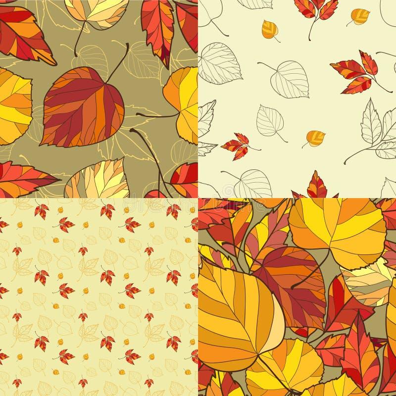 Sistema de cuatro fondos de las hojas de otoño ilustración del vector
