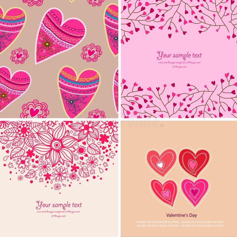 Sistema de cuatro fondos felices del día de tarjetas del día de San Valentín. libre illustration