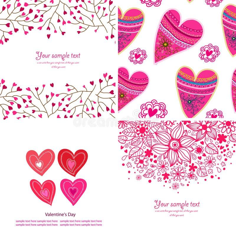 Sistema de cuatro fondos felices del día de tarjetas del día de San Valentín. stock de ilustración