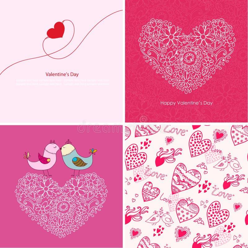 Sistema de cuatro fondos felices del día de tarjetas del día de San Valentín. ilustración del vector