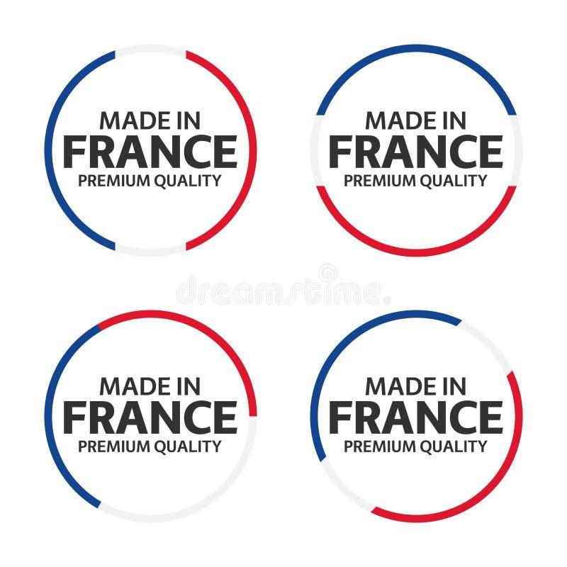 Sistema de cuatro iconos franceses, hecho en Francia, etiquetas engomadas superiores de la calidad ilustración del vector