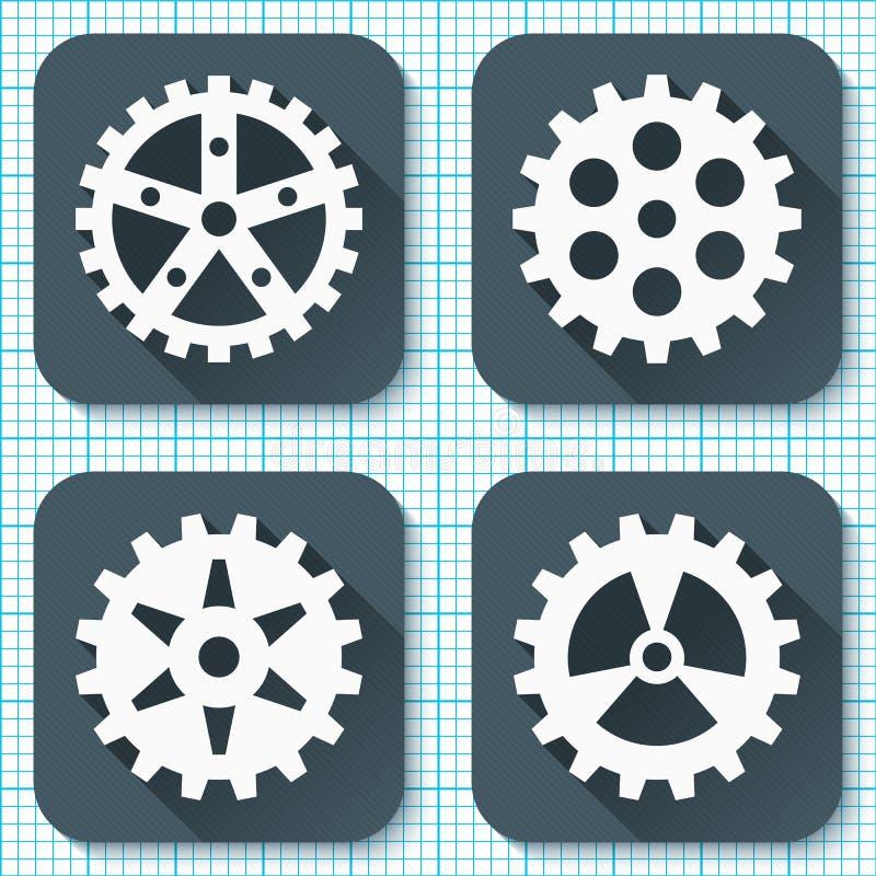 Sistema de cuatro iconos planos del engranaje con las sombras largas en un fondo del papel cuadriculado libre illustration