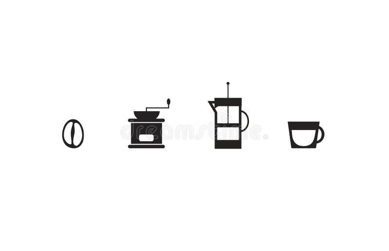 Sistema de cuatro iconos simples con tema del café: Grano de café, amoladora clásica, caldera de la prensa del francés y pequeña  stock de ilustración