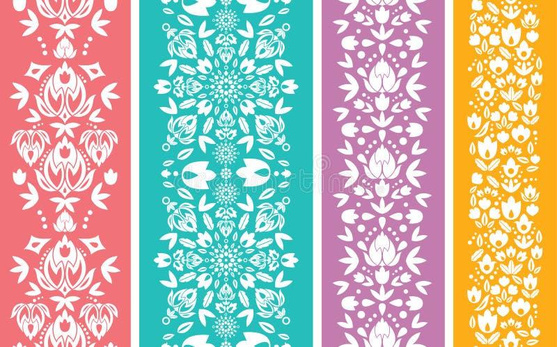 Sistema de cuatro inconsútiles verticales abstractos florales libre illustration
