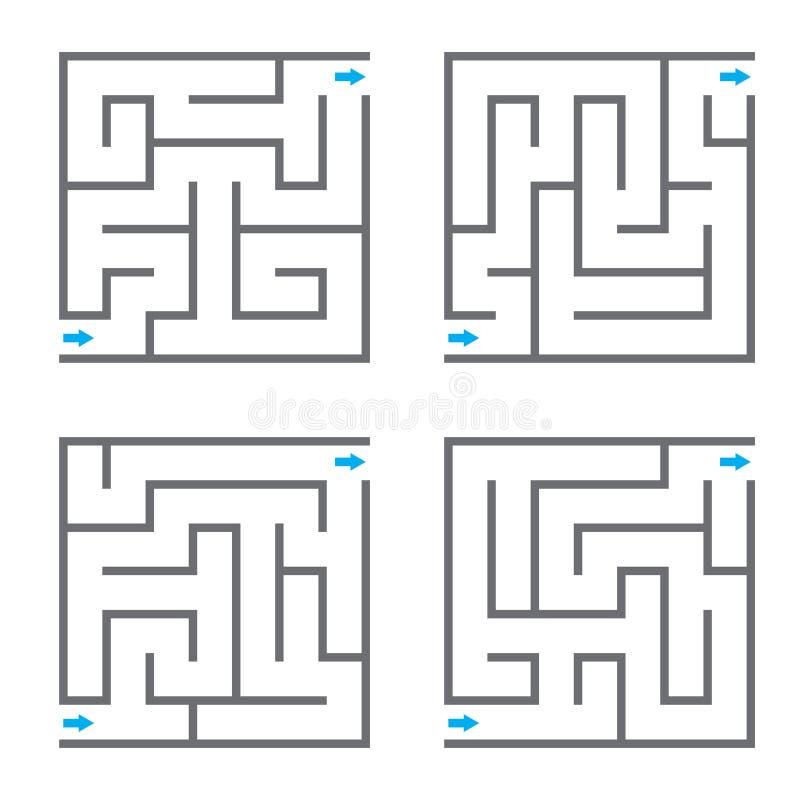 Sistema de cuatro laberintos del vector stock de ilustración