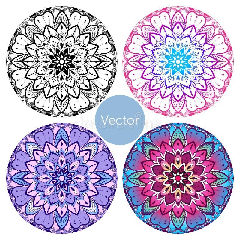 Sistema de cuatro mandalas Mandala decorativa coloreada Modelo en rosa y púrpura orientales libre illustration