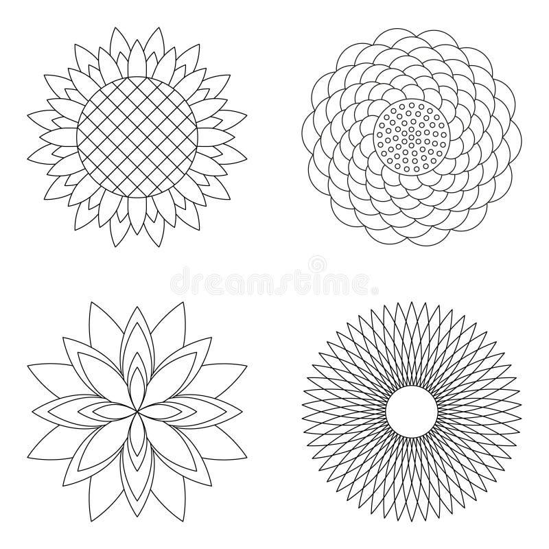 Sistema de cuatro mandalas simples florales del vector - subieron, el girasol, el loto y el aster - páginas adultas blancos y neg libre illustration