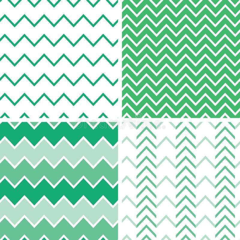 Sistema de cuatro modelos del galón del verde esmeralda y ilustración del vector