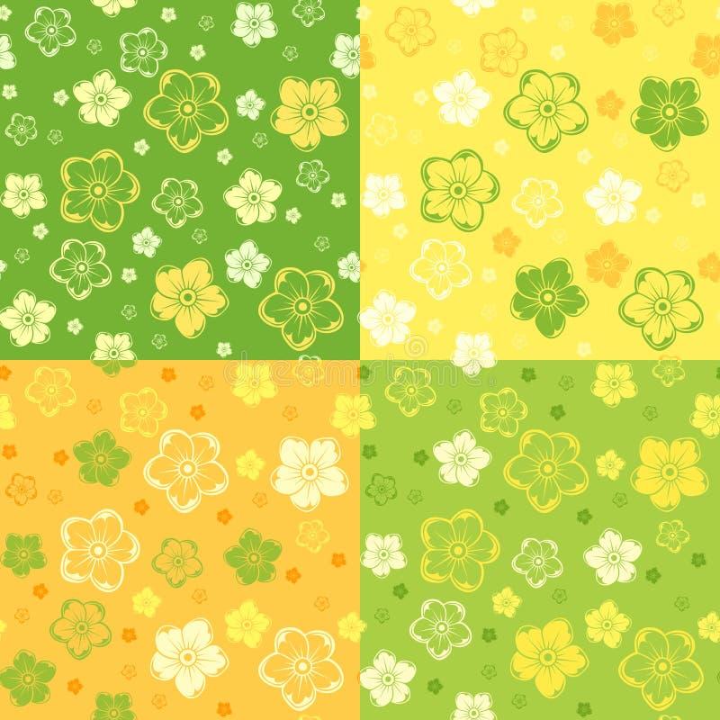 Sistema de cuatro modelos inconsútiles con las flores. ilustración del vector