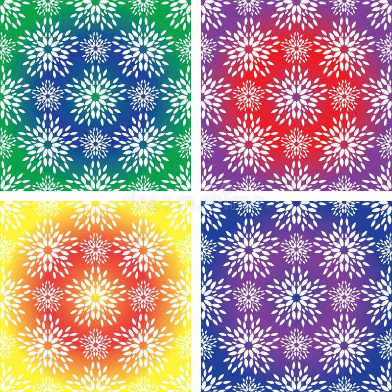 Sistema de cuatro modelos inconsútiles de los colores brillantes stock de ilustración