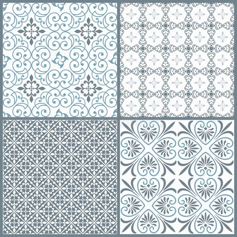 Sistema de cuatro modelos inconsútiles simétricos decorativos del vintage stock de ilustración