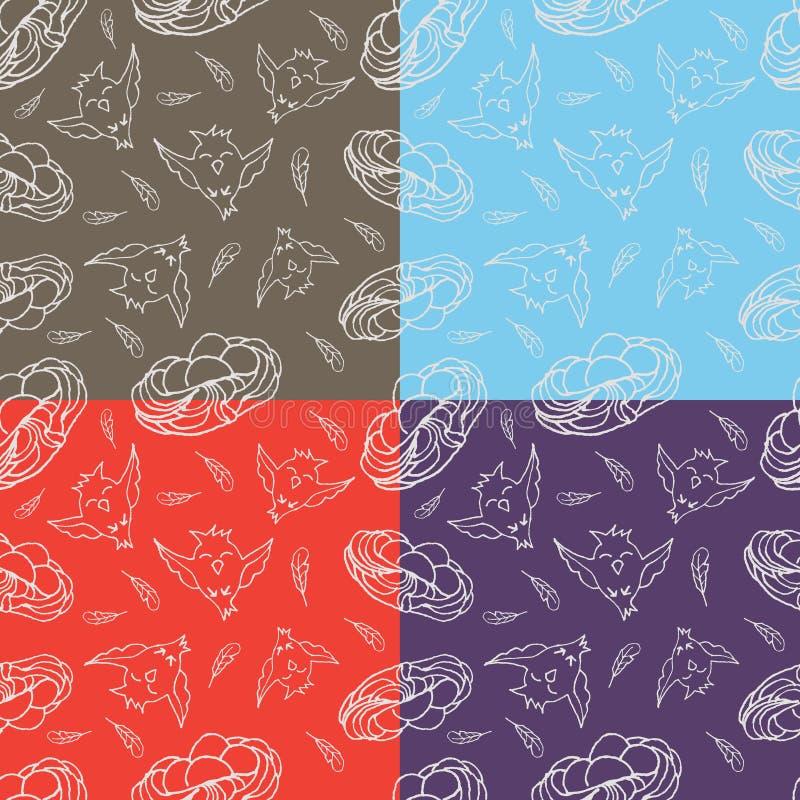 Sistema de cuatro pájaros felices y de jerarquías del modelo inconsútil con los huevos stock de ilustración