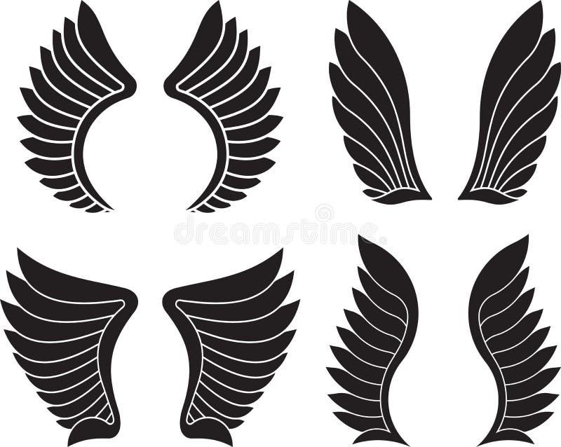Sistema de cuatro pares de alas negras Ilustración del vector stock de ilustración