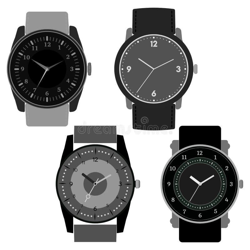 Sistema de cuatro relojes blancos y negros en el fondo blanco libre illustration