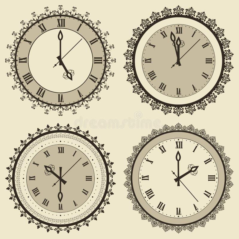 Sistema del reloj del vintage stock de ilustración