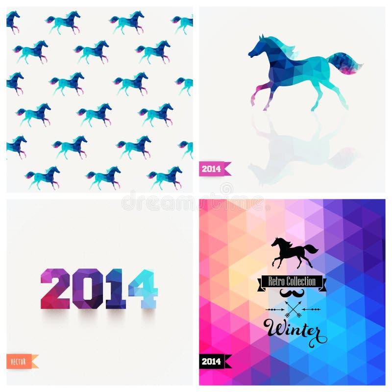 Sistema de cuatro símbolos del Año Nuevo Caballo azul Fuente retra del vector, hola libre illustration
