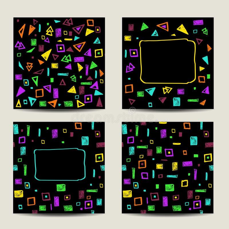 Sistema De Cuatro Tarjetas Cuadradas Con Formas Geométricas ...