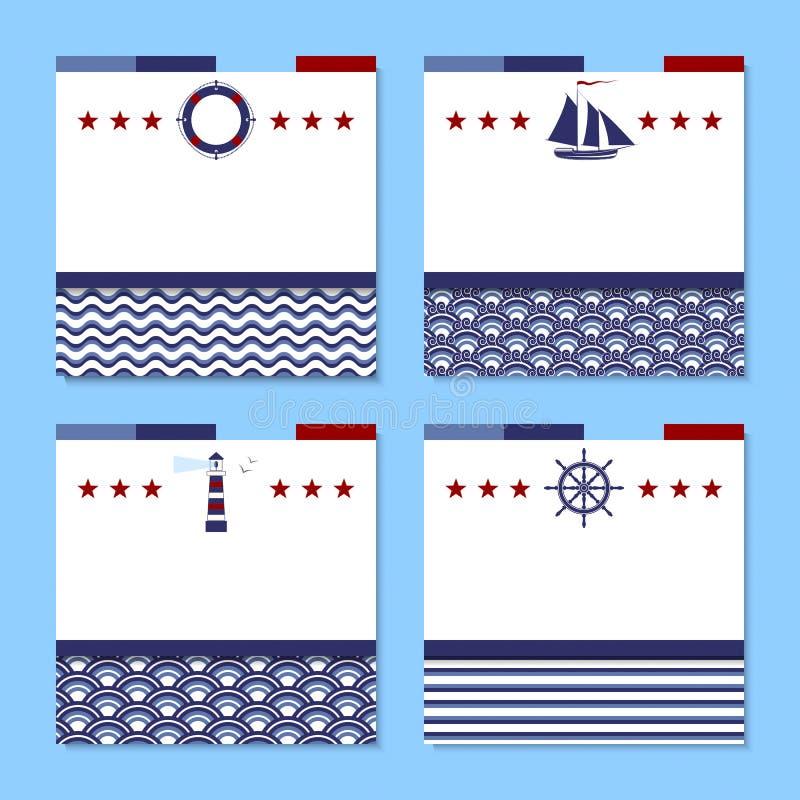 Sistema de cuatro tarjetas en tema del mar stock de ilustración