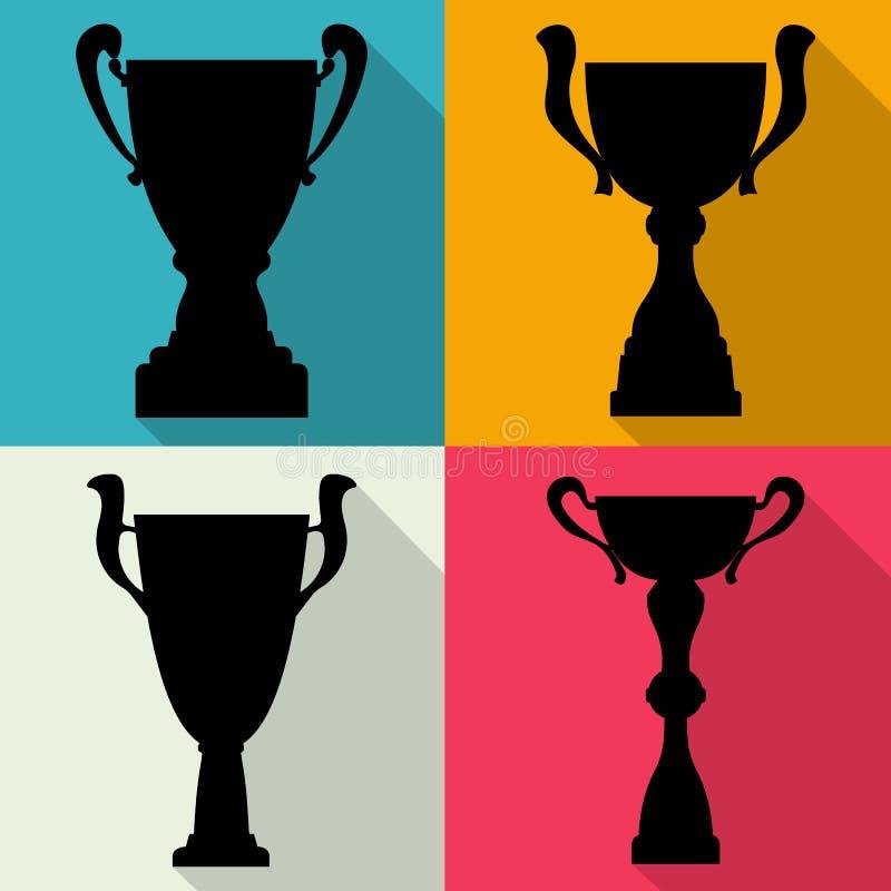Sistema de cuatro tazas de campeón del trofeo del vector en estilo plano Premios del campeonato para el primer lugar ilustración del vector