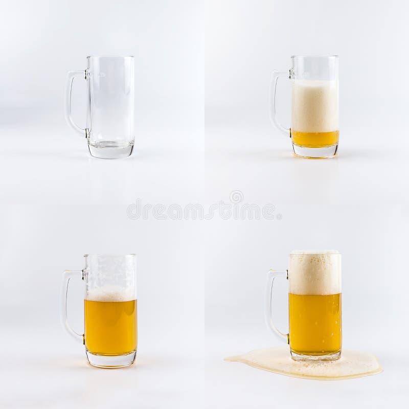 Sistema de cuatro vidrios de cerveza Vidrios de relleno con secuencia de la cerveza fotos de archivo libres de regalías