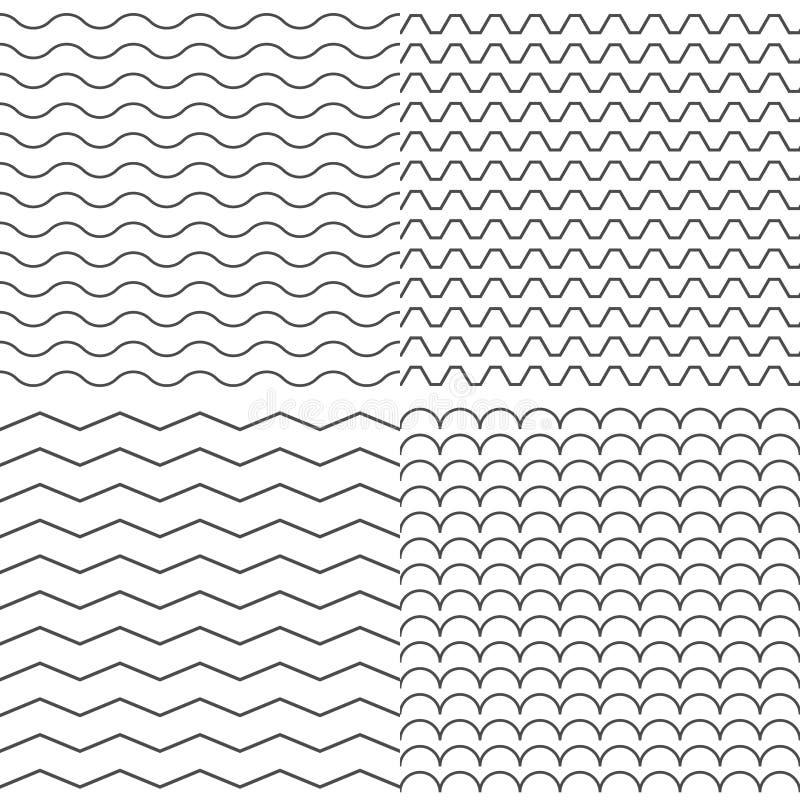 Sistema de cuatro zigzag y del vector inconsútil simple del modelo de la onda stock de ilustración