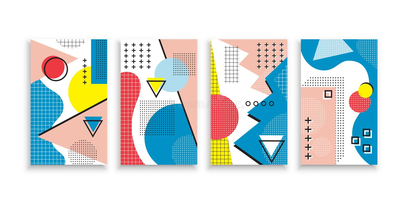 Sistema de cubiertas neas del estilo de Memphis Colecci?n de cubiertas brillantes frescas El extracto forma las composiciones Vec ilustración del vector