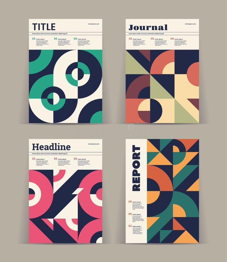 Sistema de cubiertas retras Colección de cubiertas frescas del vintage El extracto forma las composiciones Vector stock de ilustración