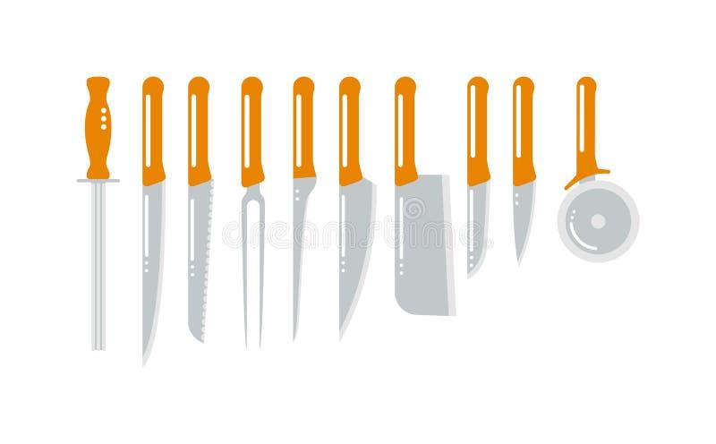 Sistema de cuchillos de cocina de acero que tallan, pelando, y herramientas agudos para uso general que cocinan el ejemplo del ve ilustración del vector