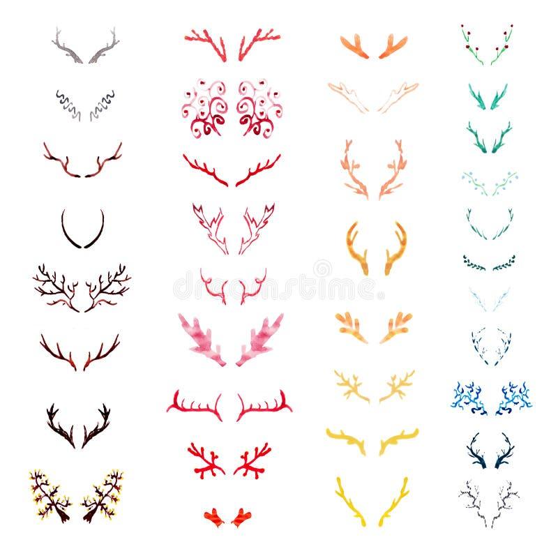 Sistema de cuernos varicolored de los ciervos de la acuarela libre illustration