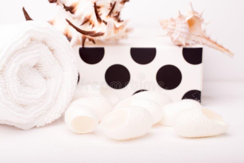 Sistema de cuidado de piel con el capullo de seda en un fondo de madera blanco Sea fotos de archivo